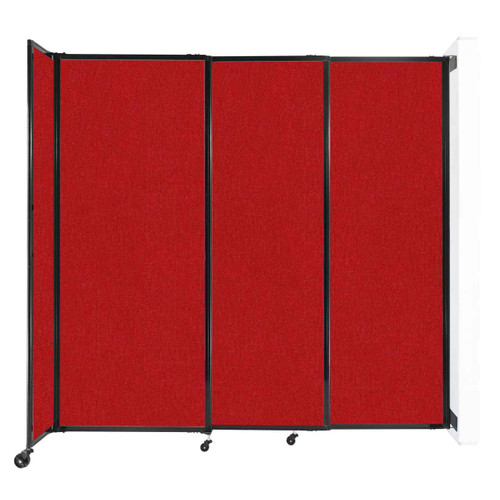 """Wall-Mounted StraightWall Sliding Partition 7'2"""" x 6'10"""" Red Fabric"""