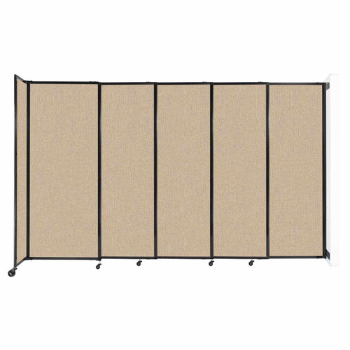 """Wall-Mounted StraightWall Sliding Partition 11'3"""" x 6'10"""" Beige Fabric"""