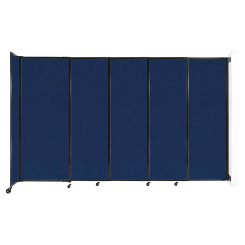 """Wall-Mounted StraightWall Sliding Partition 11'3"""" x 6'10"""" Navy Blue Fabric"""