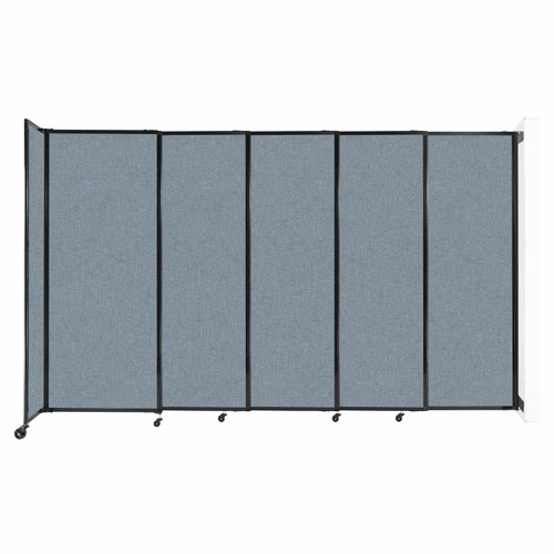 """Wall-Mounted StraightWall Sliding Partition 11'3"""" x 6'10"""" Powder Blue Fabric"""