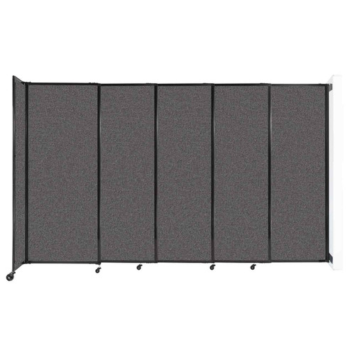 """Wall-Mounted StraightWall Sliding Partition 11'3"""" x 6'10"""" Charcoal Gray Fabric"""