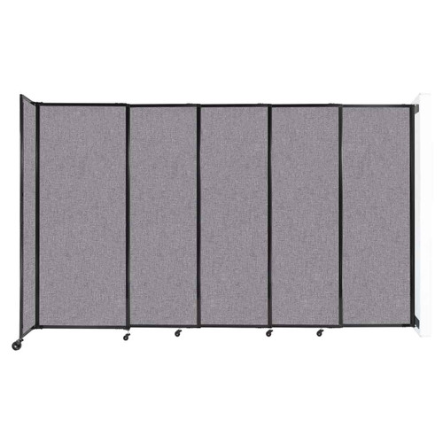 """Wall-Mounted StraightWall Sliding Partition 11'3"""" x 6'10"""" Cloud Gray Fabric"""