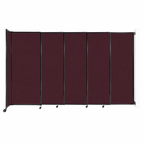 """Wall-Mounted StraightWall Sliding Partition 11'3"""" x 6'10"""" Cranberry Fabric"""
