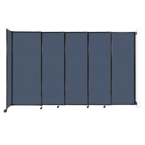 """Wall-Mounted StraightWall Sliding Partition 11'3"""" x 6'10"""" Ocean Fabric"""