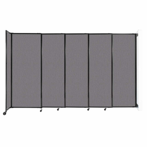 """Wall-Mounted StraightWall Sliding Partition 11'3"""" x 6'10"""" Slate Fabric"""