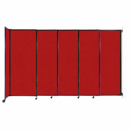 """Wall-Mounted StraightWall Sliding Partition 11'3"""" x 6'10"""" Red Fabric"""