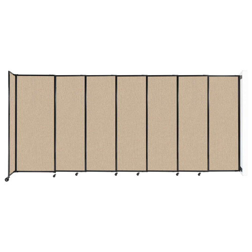 """Wall-Mounted StraightWall Sliding Partition 15'6"""" x 6'10"""" Beige Fabric"""