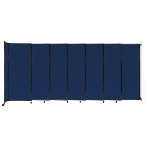 """Wall-Mounted StraightWall Sliding Partition 15'6"""" x 6'10"""" Navy Blue Fabric"""