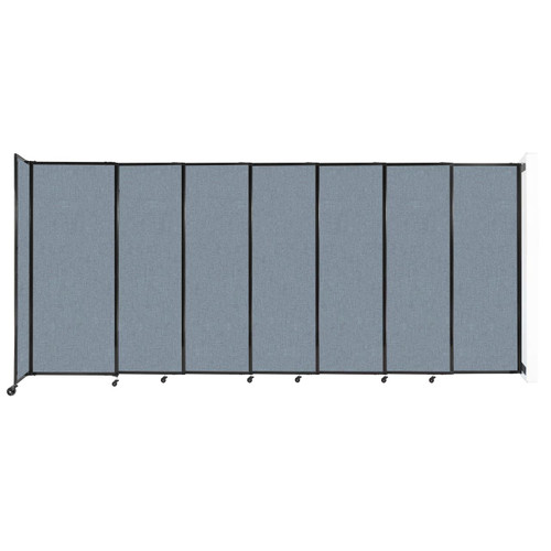 """Wall-Mounted StraightWall Sliding Partition 15'6"""" x 6'10"""" Powder Blue Fabric"""
