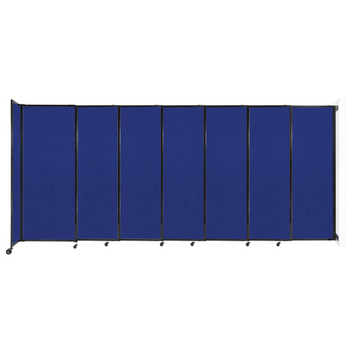 """Wall-Mounted StraightWall Sliding Partition 15'6"""" x 6'10"""" Royal Blue Fabric"""