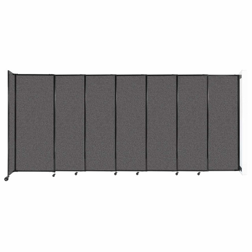 """Wall-Mounted StraightWall Sliding Partition 15'6"""" x 6'10"""" Charcoal Gray Fabric"""