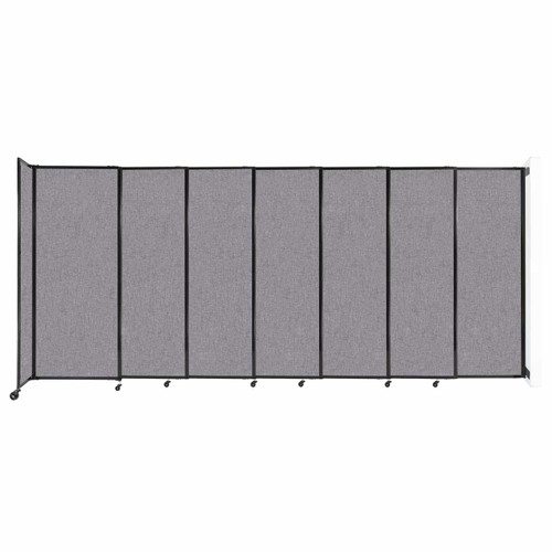 """Wall-Mounted StraightWall Sliding Partition 15'6"""" x 6'10"""" Cloud Gray Fabric"""
