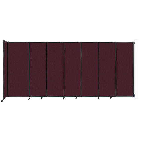 """Wall-Mounted StraightWall Sliding Partition 15'6"""" x 6'10"""" Cranberry Fabric"""