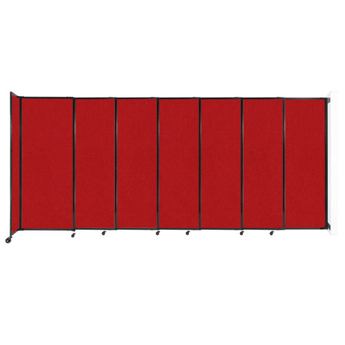 """Wall-Mounted StraightWall Sliding Partition 15'6"""" x 6'10"""" Red Fabric"""