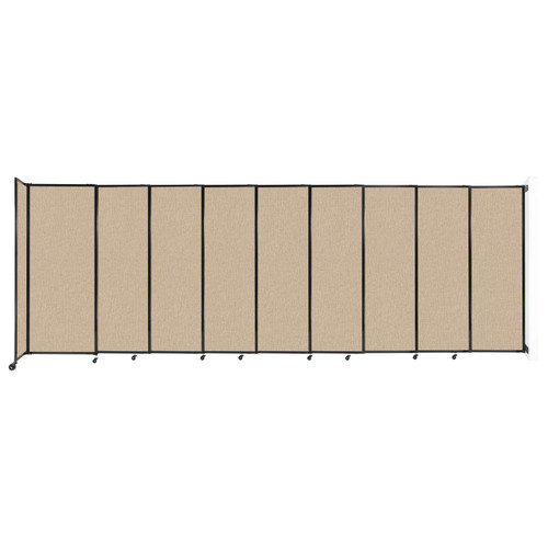 """Wall-Mounted StraightWall Sliding Partition 19'9"""" x 6'10"""" Beige Fabric"""