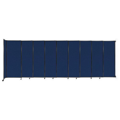 """Wall-Mounted StraightWall Sliding Partition 19'9"""" x 6'10"""" Navy Blue Fabric"""