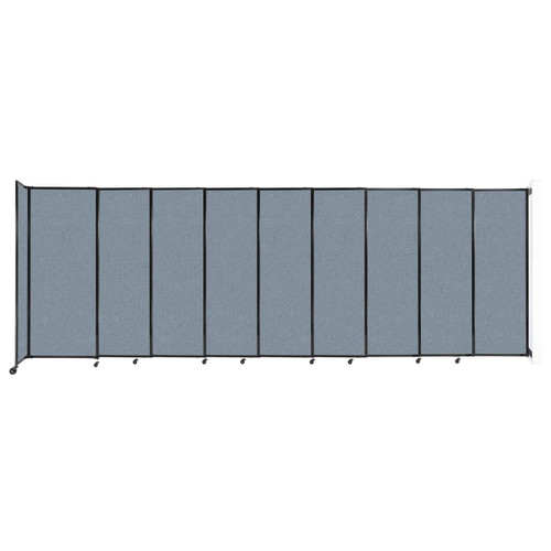 """Wall-Mounted StraightWall Sliding Partition 19'9"""" x 6'10"""" Powder Blue Fabric"""