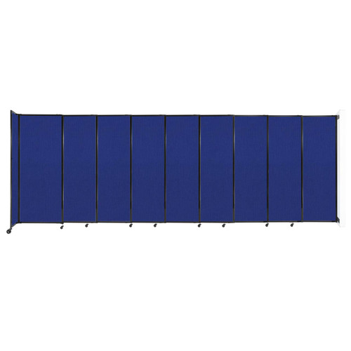 """Wall-Mounted StraightWall Sliding Partition 19'9"""" x 6'10"""" Royal Blue Fabric"""