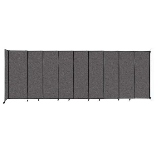 """Wall-Mounted StraightWall Sliding Partition 19'9"""" x 6'10"""" Charcoal Gray Fabric"""