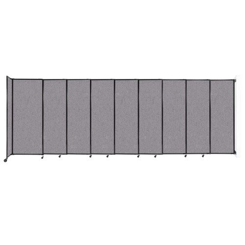 """Wall-Mounted StraightWall Sliding Partition 19'9"""" x 6'10"""" Cloud Gray Fabric"""