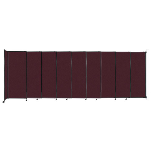 """Wall-Mounted StraightWall Sliding Partition 19'9"""" x 6'10"""" Cranberry Fabric"""