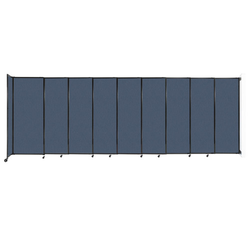 """Wall-Mounted StraightWall Sliding Partition 19'9"""" x 6'10"""" Ocean Fabric"""