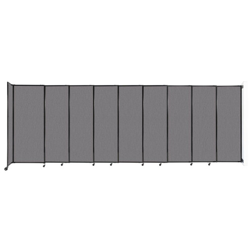 """Wall-Mounted StraightWall Sliding Partition 19'9"""" x 6'10"""" Slate Fabric"""