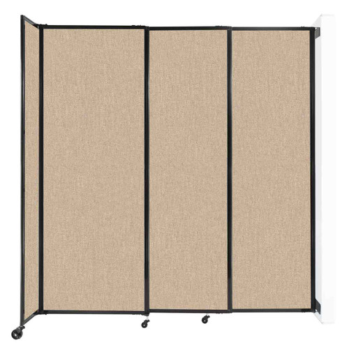 """Wall-Mounted StraightWall Sliding Partition 7'2"""" x 7'6"""" Beige Fabric"""