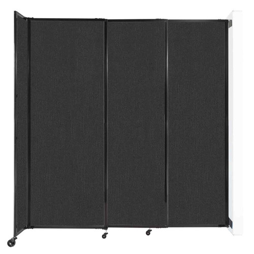 """Wall-Mounted StraightWall Sliding Partition 7'2"""" x 7'6"""" Black Fabric"""