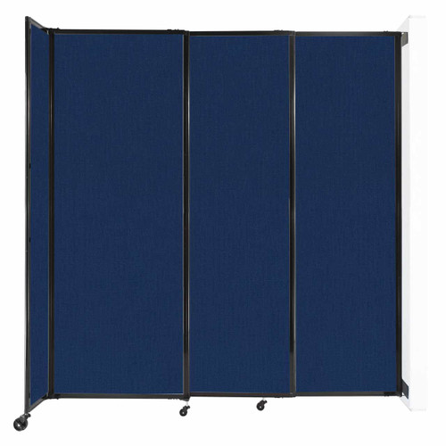 """Wall-Mounted StraightWall Sliding Partition 7'2"""" x 7'6"""" Navy Blue Fabric"""