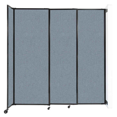 """Wall-Mounted StraightWall Sliding Partition 7'2"""" x 7'6"""" Powder Blue Fabric"""