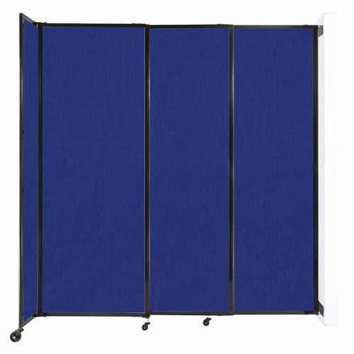 """Wall-Mounted StraightWall Sliding Partition 7'2"""" x 7'6"""" Royal Blue Fabric"""