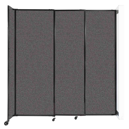 """Wall-Mounted StraightWall Sliding Partition 7'2"""" x 7'6"""" Charcoal Gray Fabric"""