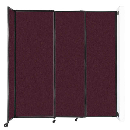"""Wall-Mounted StraightWall Sliding Partition 7'2"""" x 7'6"""" Cranberry Fabric"""