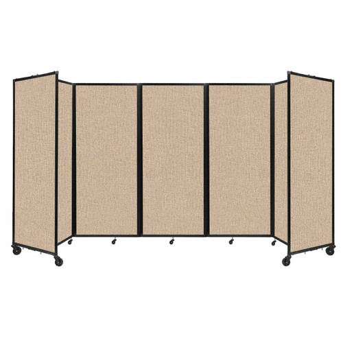 """Room Divider 360 Folding Portable Partition 14' x 6'10"""" Beige Fabric"""