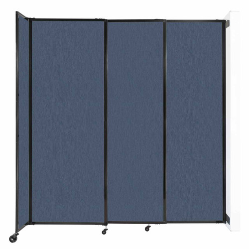 """Wall-Mounted StraightWall Sliding Partition 7'2"""" x 7'6"""" Ocean Fabric"""