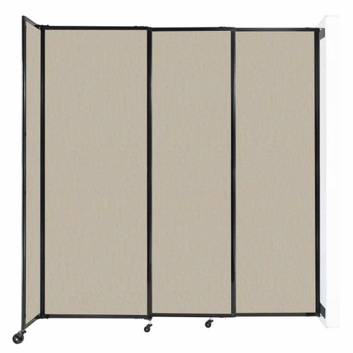 """Wall-Mounted StraightWall Sliding Partition 7'2"""" x 7'6"""" Sand Fabric"""