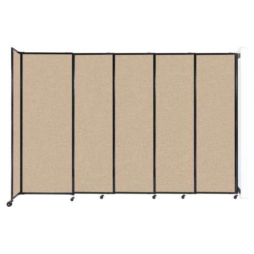 """Wall-Mounted StraightWall Sliding Partition 11'3"""" x 7'6"""" Beige Fabric"""
