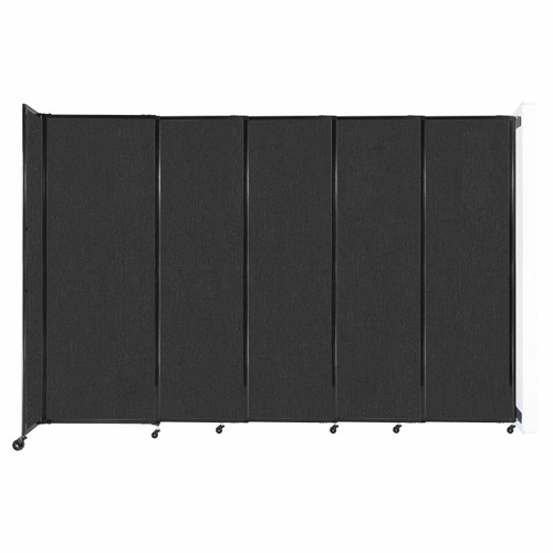 """Wall-Mounted StraightWall Sliding Partition 11'3"""" x 7'6"""" Black Fabric"""