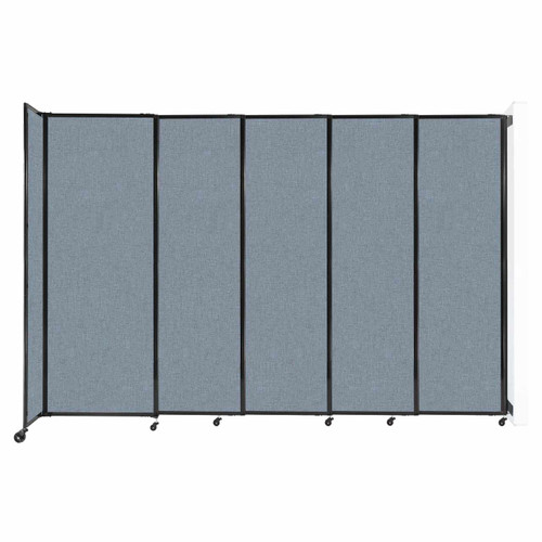 """Wall-Mounted StraightWall Sliding Partition 11'3"""" x 7'6"""" Powder Blue Fabric"""