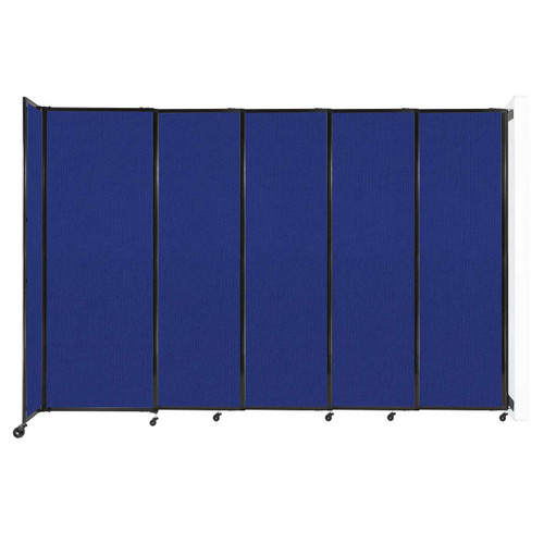 """Wall-Mounted StraightWall Sliding Partition 11'3"""" x 7'6"""" Royal Blue Fabric"""