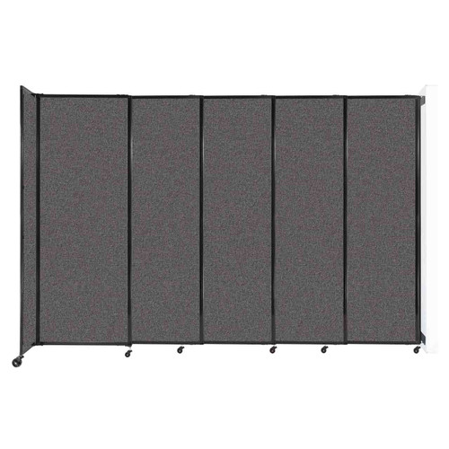 """Wall-Mounted StraightWall Sliding Partition 11'3"""" x 7'6"""" Charcoal Gray Fabric"""