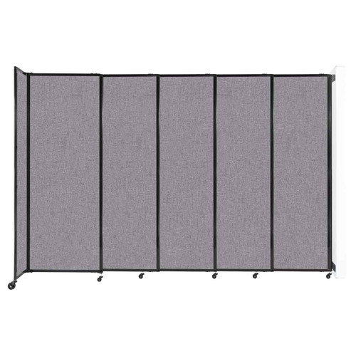 """Wall-Mounted StraightWall Sliding Partition 11'3"""" x 7'6"""" Cloud Gray Fabric"""