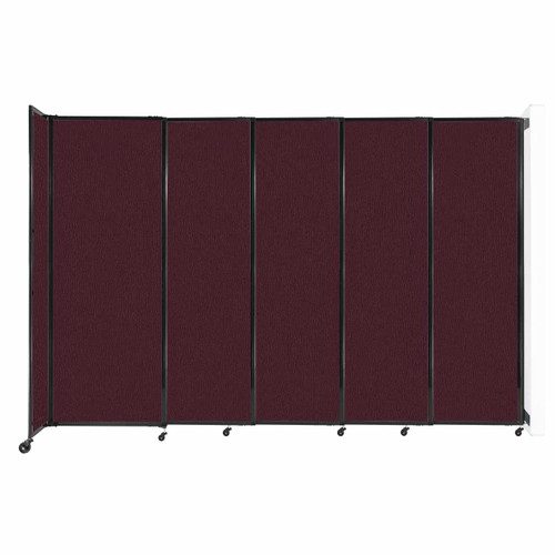 """Wall-Mounted StraightWall Sliding Partition 11'3"""" x 7'6"""" Cranberry Fabric"""