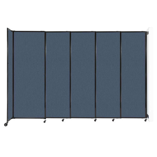 """Wall-Mounted StraightWall Sliding Partition 11'3"""" x 7'6"""" Ocean Fabric"""