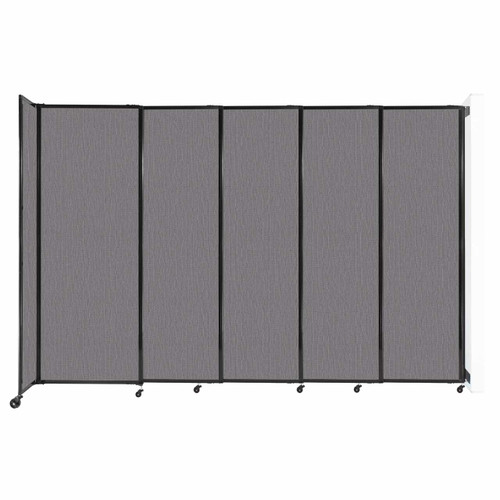 """Wall-Mounted StraightWall Sliding Partition 11'3"""" x 7'6"""" Slate Fabric"""