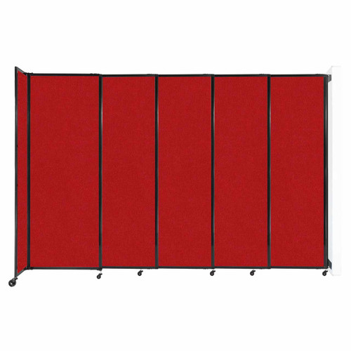 """Wall-Mounted StraightWall Sliding Partition 11'3"""" x 7'6"""" Red Fabric"""