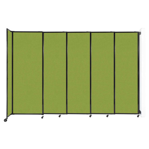"""Wall-Mounted StraightWall Sliding Partition 11'3"""" x 7'6"""" Lime Green Fabric"""