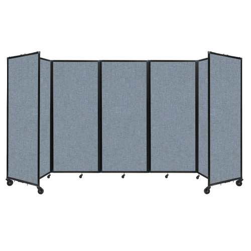 """Room Divider 360 Folding Portable Partition 14' x 6'10"""" Powder Blue Fabric"""