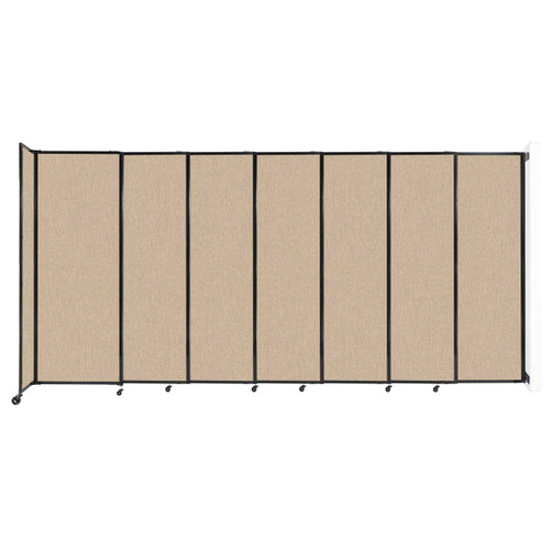 """Wall-Mounted StraightWall Sliding Partition 15'6"""" x 7'6"""" Beige Fabric"""